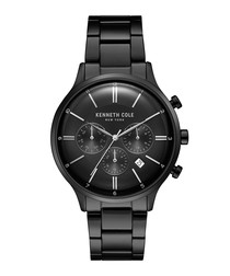 Black stainless steel link watch