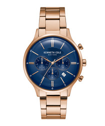 Rose gold-tone & blue dial watch