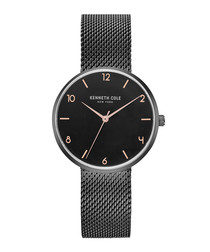 Black stainless steel mesh strap watch