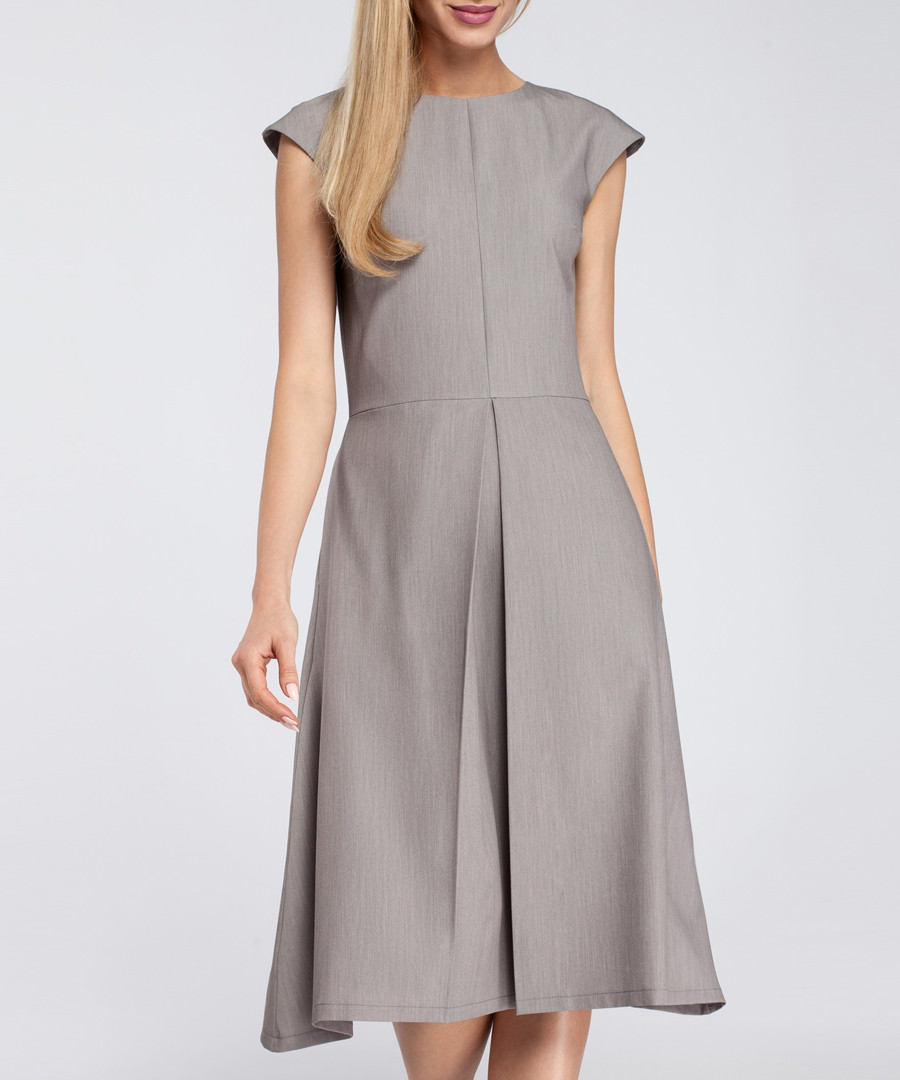 Grey pleated cap sleeve midi dress Sale - made of emotion
