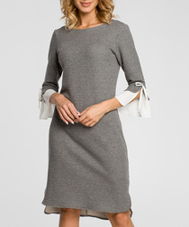 grey 3/4 sleeve tie Dress