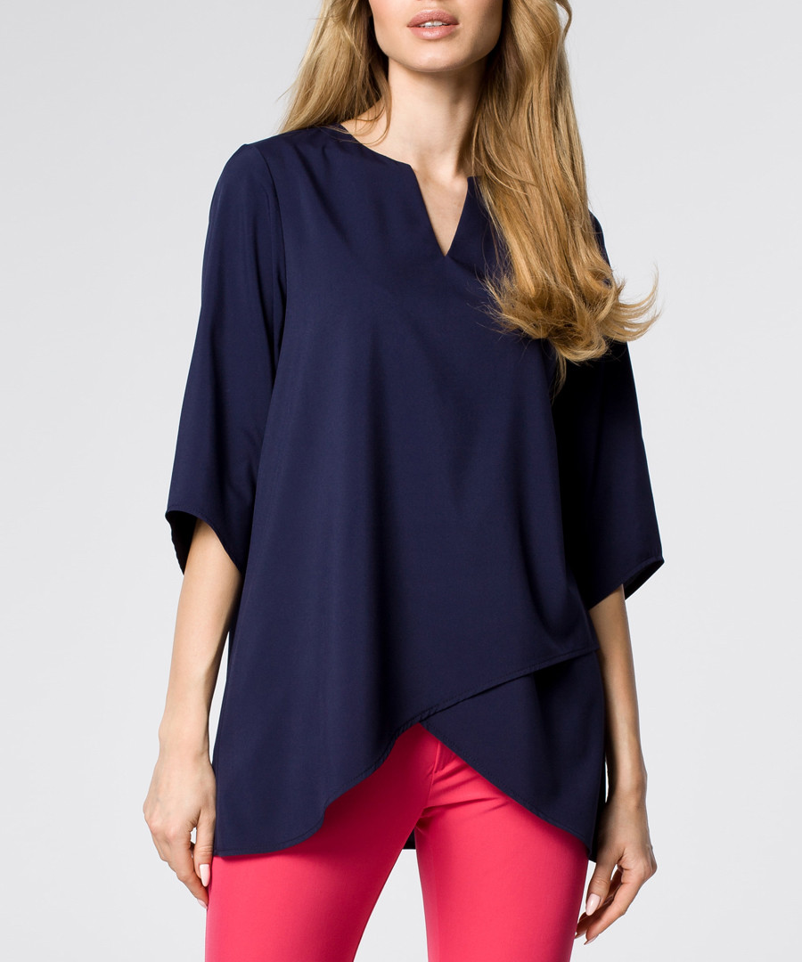 navy panelled blouse Sale - made of emotion
