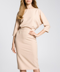 Beige 3/4 sleeve boat neck dress