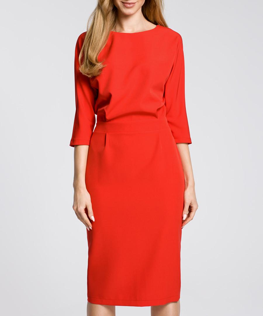 Scarlet red boat neck dress Sale - made of emotion