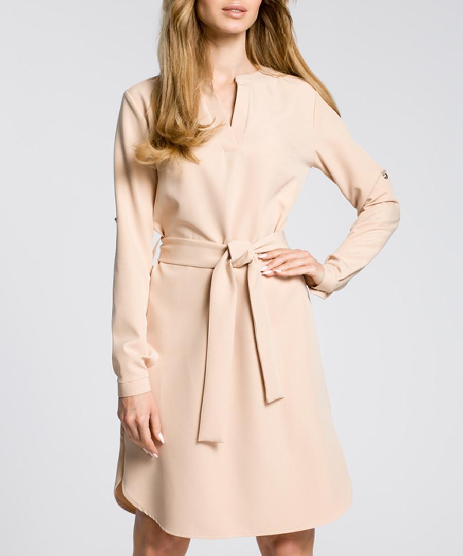 Beige waist-tie mini dress Sale - made of emotion