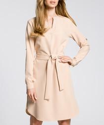 Beige waist-tie mini dress