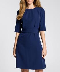 Navy waist-belt dress