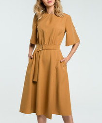 Tan waist-tie Dress