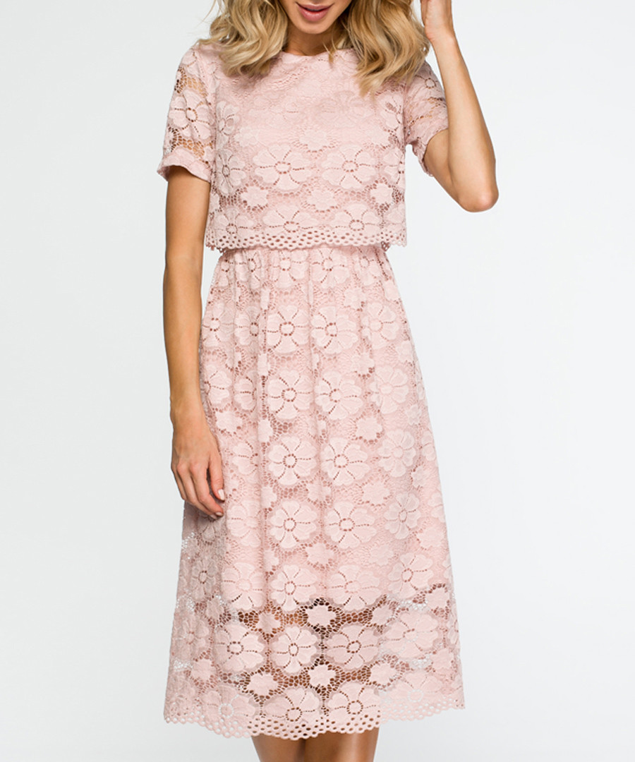Pink short sleeve lace dress Sale - made of emotion
