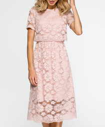 Pink short sleeve lace dress