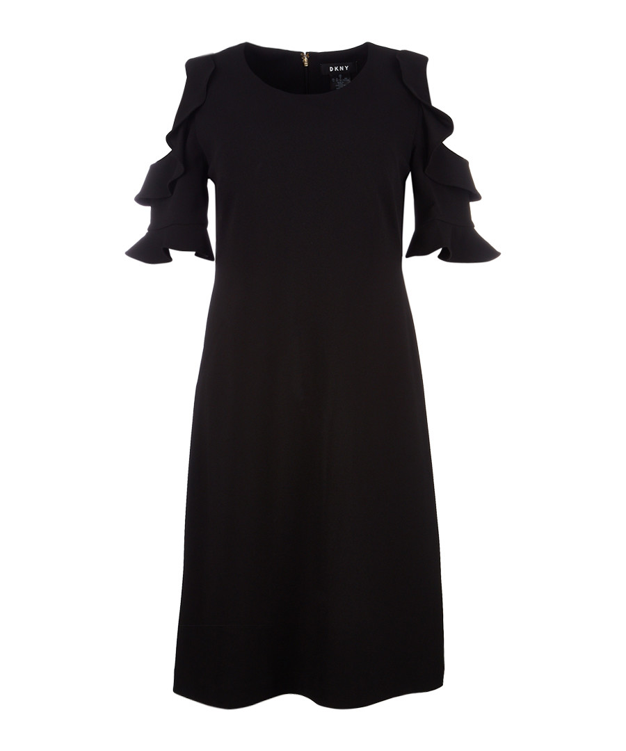 Black shoulder cut-out ruffle dress Sale - dkny