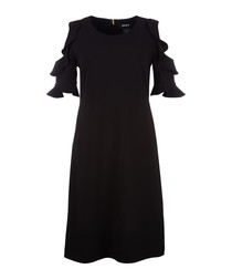Black shoulder cut-out ruffle dress