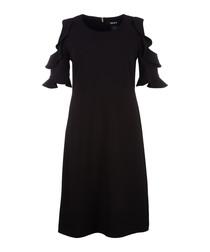 Black shoulder cut-out ruffle dress