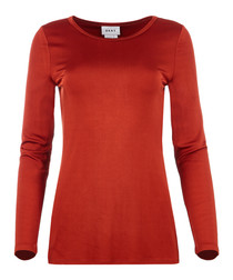 Burnt orange long sleeve crew jumper