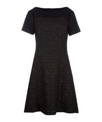 Black textured short sleeve dress