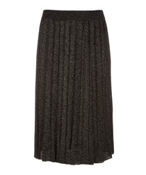 Black & gold-tone pleated midi skirt