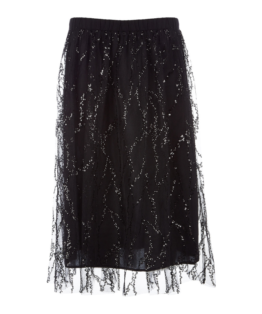 Black sheer-layer A-line sequin skirt Sale - dkny