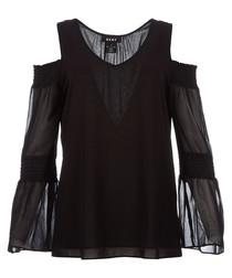 Black cold-shoulder top