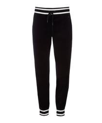 Black cotton blend ribbed slim joggers