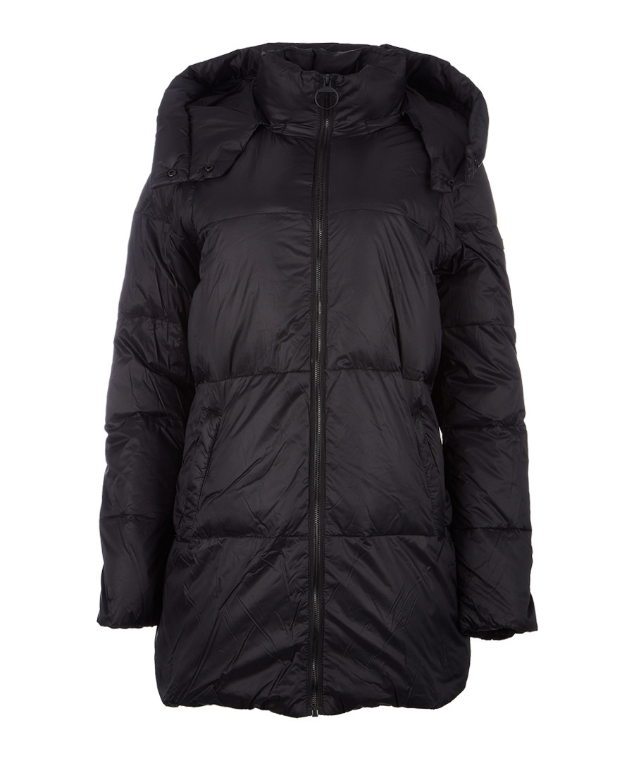 Black matte nylon long puffer jacket Sale - dkny