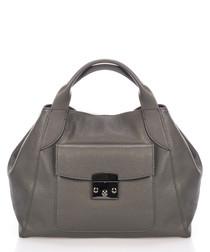 Grey leather pocket grab bag