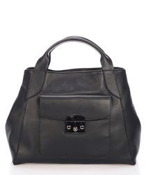 Black leather pocket grab bag