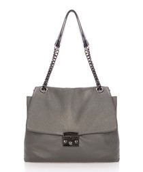 Grey leather top handle shopper
