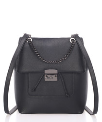 Midnight leather chain backpack