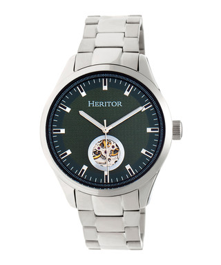 77dbebeb1 Crew silver-tone & olive steel watch Sale - heritor automatic Sale