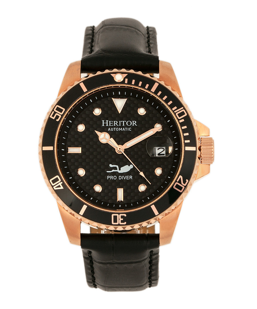Lucius rose gold-tone & leather watch Sale - heritor automatic