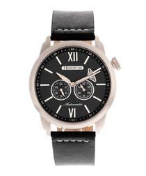 Wellington steel & black leather watch
