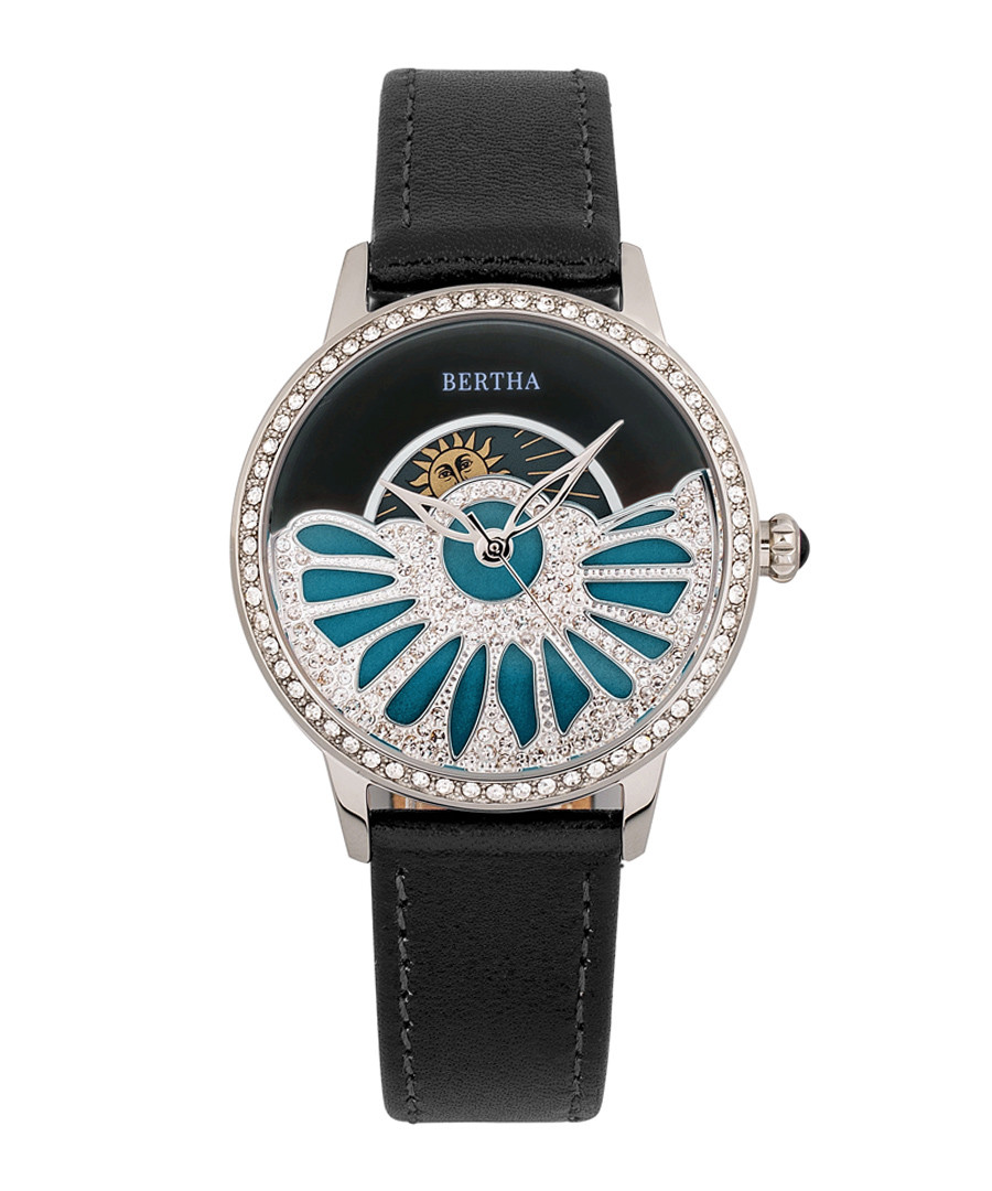 Adaline black leather half-dial watch Sale - bertha
