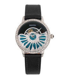Adaline black leather half-dial watch