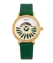Adaline green leather half-dial watch