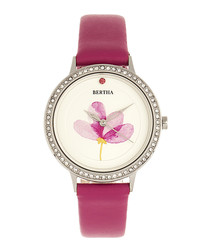 Delilah fuchsia leather quartz watch