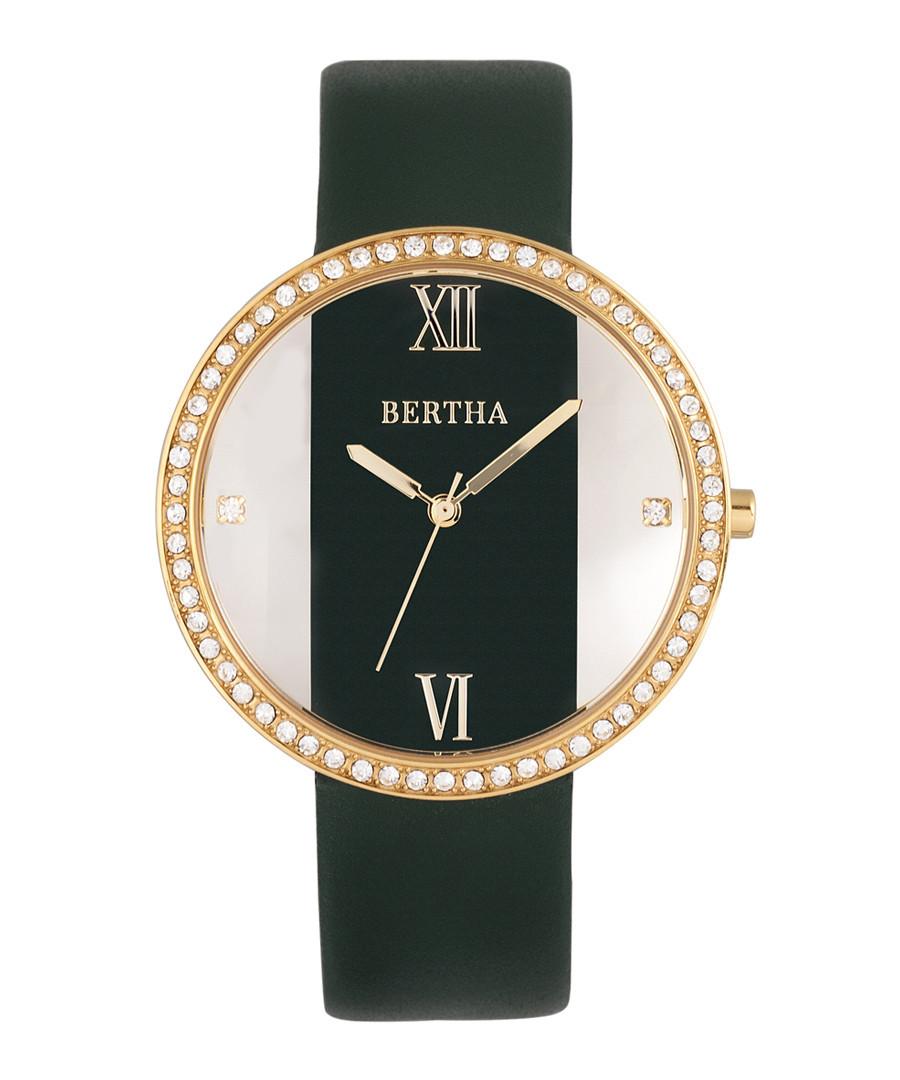Ingrid gold-tone & green leather watch Sale - bertha