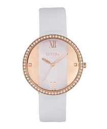 Ingrid rose & white leather watch