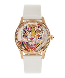 Annabelle white leather tiger watch