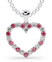 Ruby & white gold heart pendant necklace