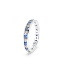 sapphire & diamond row eternity ring