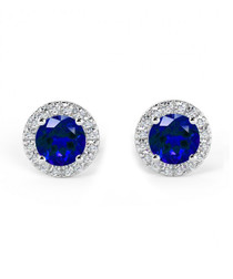 sapphire & diamond halo earrings