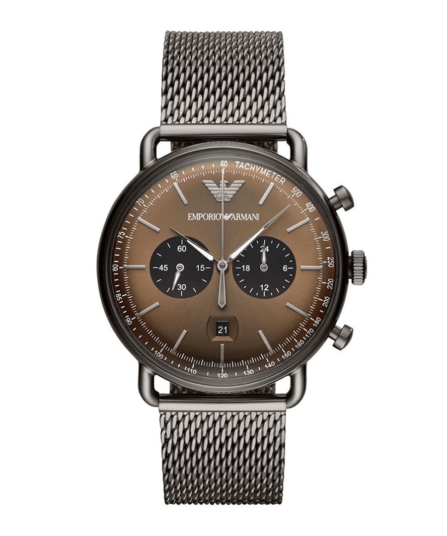 Gunmetal stainless steel watch Sale - Emporio Armani