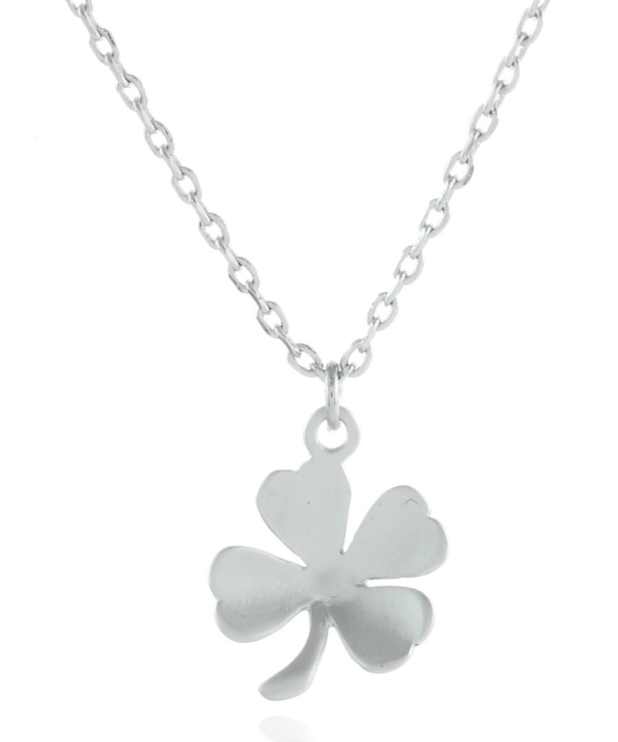 Four leaf clover rhodium-plated necklace Sale - fleur envy