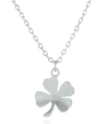 Four leaf clover rhodium-plated necklace