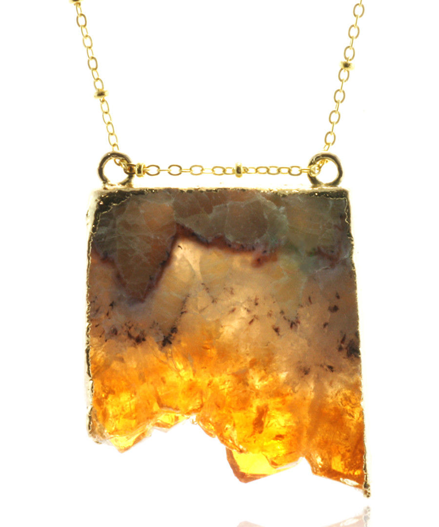 14k gold-plated citrine slab necklace Sale - fleur envy