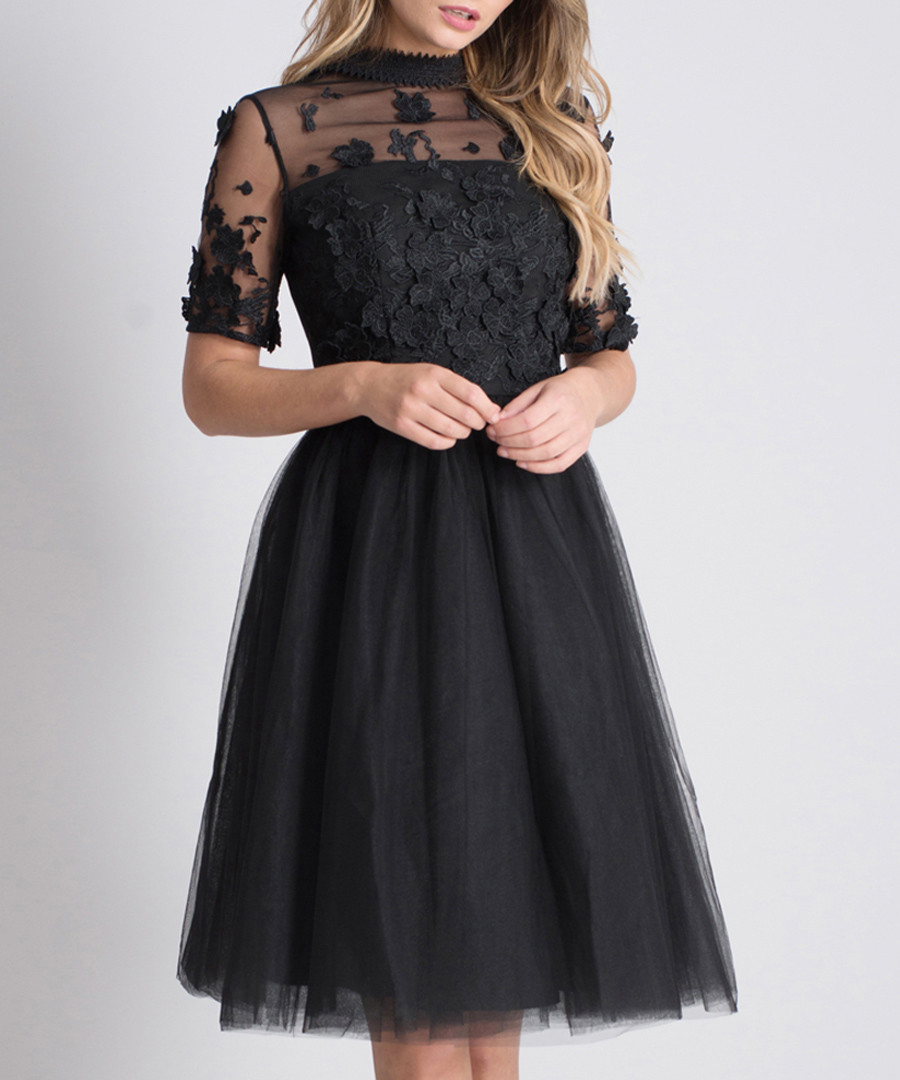 Oria black sheer detail dress Sale - chi chi london