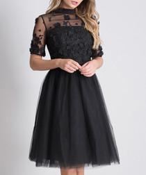 Oria black sheer detail dress