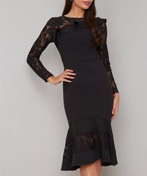 Gloriana black lace fluted Dress