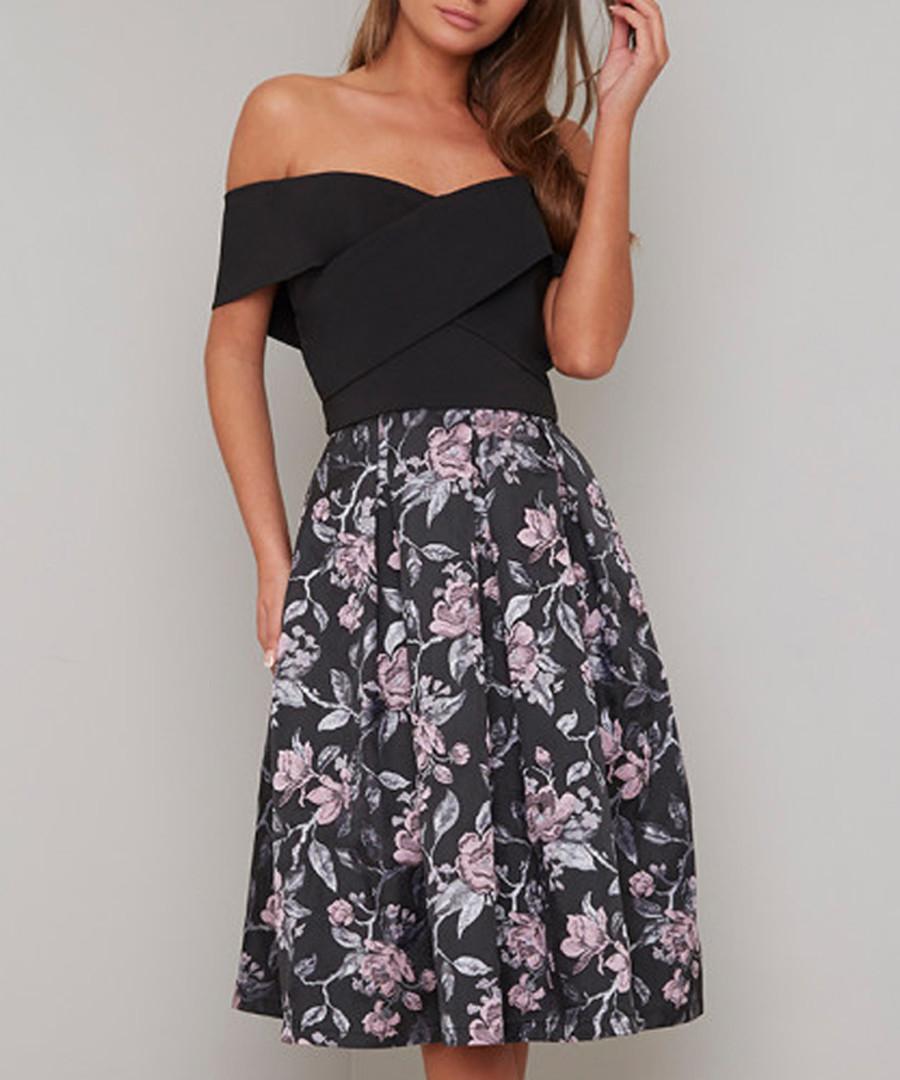 Justine floral off-shoulder Dress Sale - chi chi london