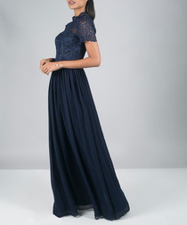 Carlee navy lace maxi dress